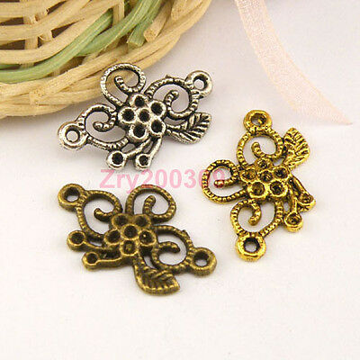 20Pcs Tibetan Silver,Antiqued Gold,Bronze Flower Charms Connectors M1473