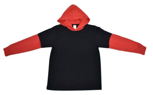 Youth Boys Red /& Black Hooded Long Sleeve Tee Shirt New M