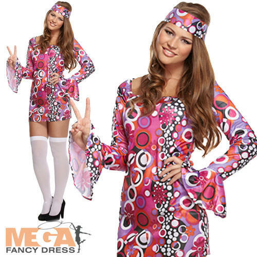 Groovy Hippie Ladies Costume 1960s Retro Hippy Womens 60s 70s Fancy Dress Outfit