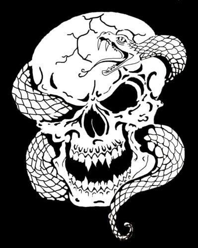 high detail airbrush stencil snake through skull FREE UK POSTAGE