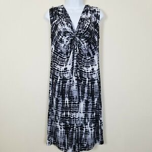 Michael Kors Sleeveless Tie Dye Dress Womens Large Stretchy Black White Gray