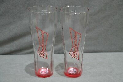 2 Pair Of Budweiser One Pint 20oz Toughened /& Enamel Nucleated Glass Red Base