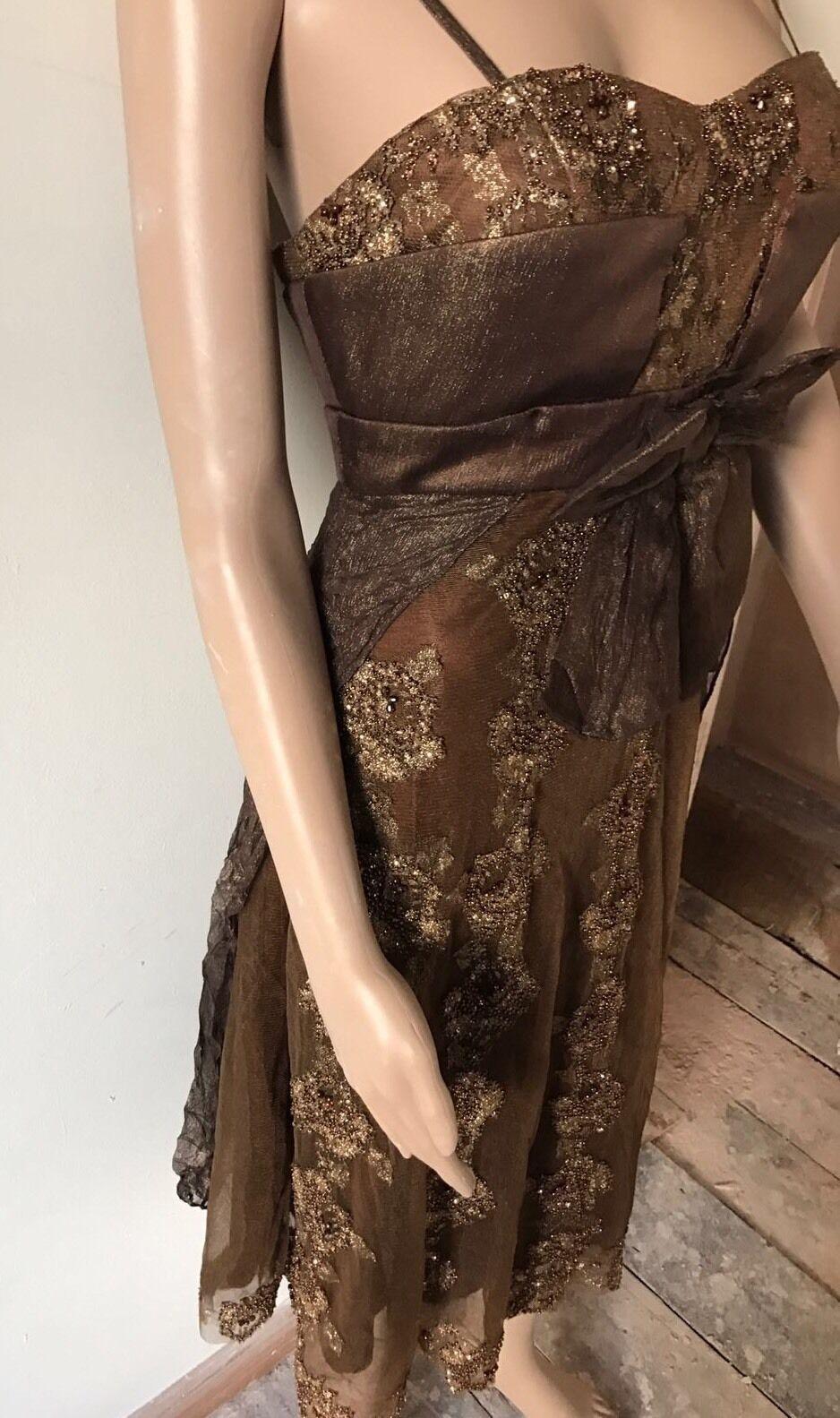 House of Fraser Brown Embelished Embelished Embelished Party Dress Size S RRP 299£ 25dae4