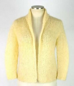 Vintage-1950s-Luxe-Ivory-Mohair-Knit-Cardigan-Sweater-Open-Front-Fuzzy-Womens-M