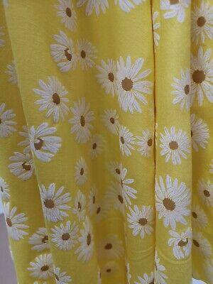 2 Metres Printed yellow daisy viscose elastaine dress fabric