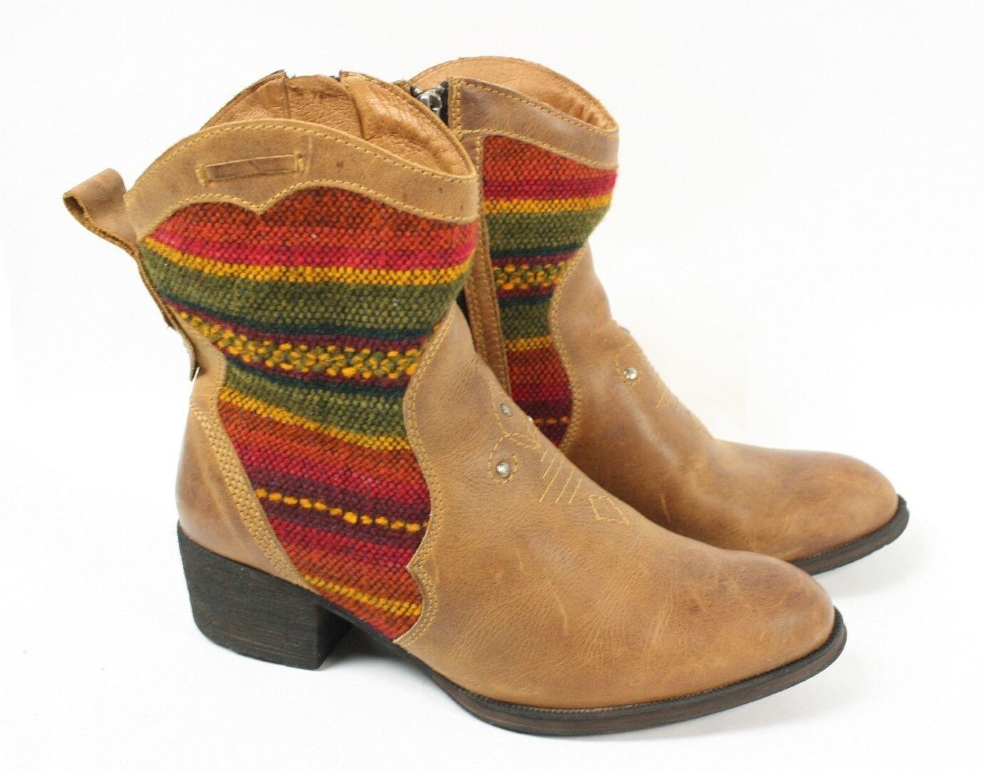 BORN Topanga Braun Multi Farbe Calf Knit Short Western Mid Calf Farbe Ankle Stiefel Damens 9.5 1fecf8