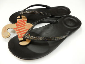 4b36969fb4fd7 FITFLOP WOMENS SANDALS IQUSHION SPARKLE BLACK SIZE 10 192051806165 ...
