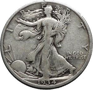 1934-WALKING-LIBERTY-Half-Dollar-Bald-Eagle-United-States-Silver-Coin-i44697