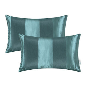 2PCS-Teal-Throw-Pillow-Cover-Reversible-Jacquard-Striped-Sofa-Decor-12-034-x20-034