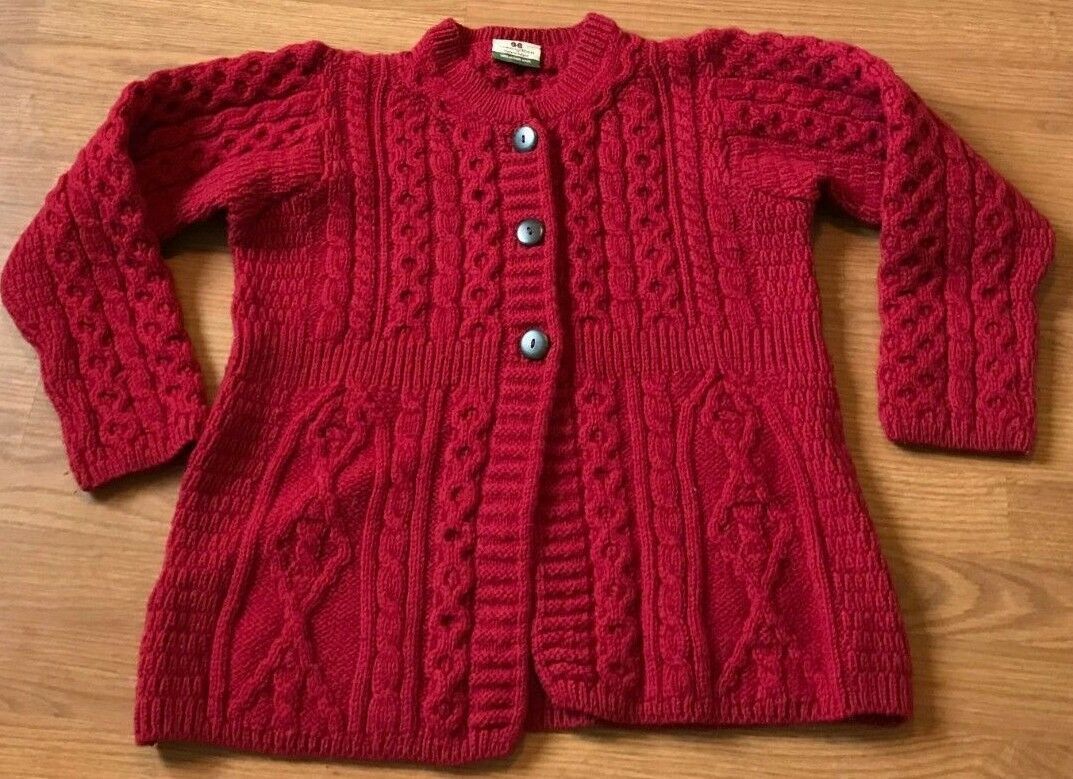 CARRAIG DONN SWEATER CARDIGAN BUTTON MERINO WOOL KNIT IRELAND RED SIZE S SMALL