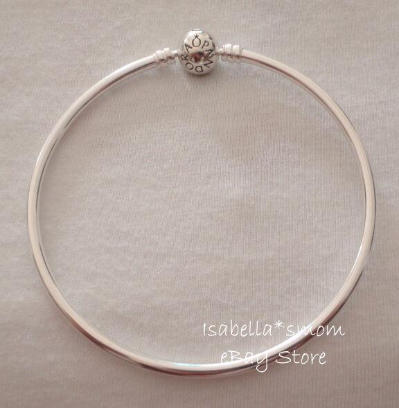 "Authentic PANDORA Silver Hard BANGLE Bracelet 7.5"" 19cm Medium 590713 w POUCH"