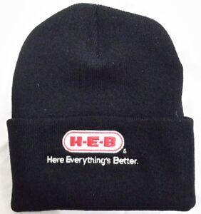ff9a097b6 Details about H-E-B Black Knit Beanie Winter Hat Toque Skull Cap Cuffed  100% ACRYLIC HEB