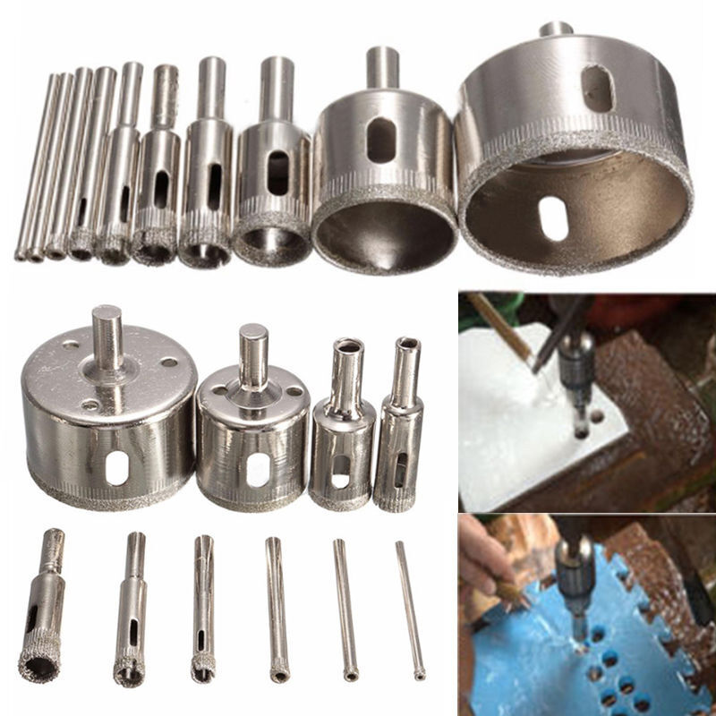 10 Pcs 3-50mm Diamond Tool Drill Bit Hole Saw Set Glass Ceramic Marble Tile Kit