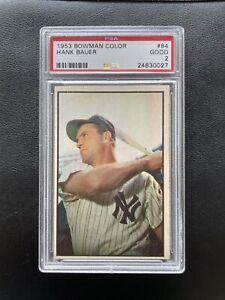 1953 Bowman Color Hank Bauer Yankees #84 PSA 2