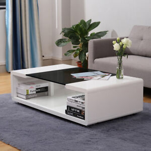 High gloss coffee table black glass top modern design home living room furniture ebay for High gloss black living room furniture