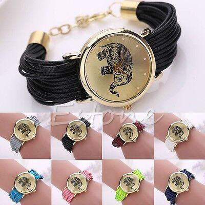 Women's Geneva Stylish Knitted Band Elephant Pattern Quartz Analog Wrist Watch