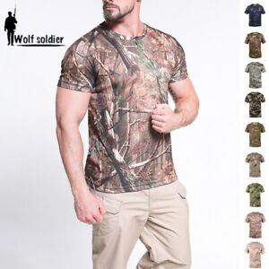 Mens-Military-Combat-T-Shirt-Short-Sleeve-Tactical-Army-Summer-Casual-Camouflage