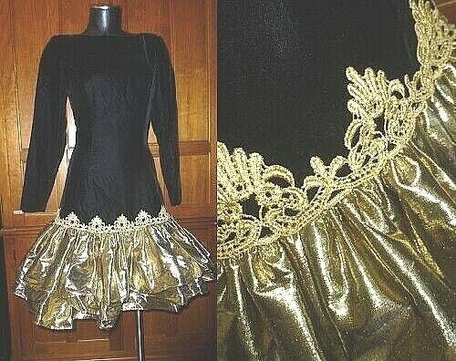 VTG 80s McClintock Gold Metallic Ruffle Black Vel… - image 1