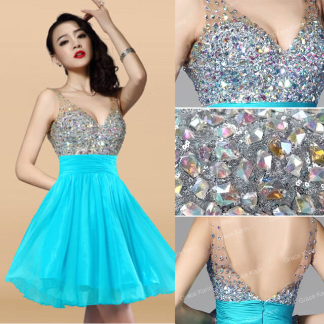 MIni/Short Beaded Sexy Homecoming Chiffon Formal Bridesmaid Evening Prom Dresses