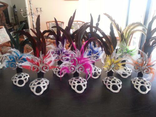 SAMBA Costume small Headpiece  8 Colors Real Feathers Mirror Headdress NEW