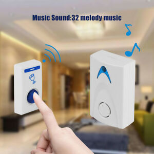 LED-Wireless-Chime-Door-Bell-Doorbell-Wireles-Remote-Control-with-32-Tune-Songs