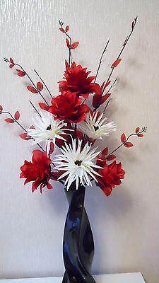 Artificial Silk Flower Arrangement In Red & Cream , In Black  Vase 70 cm