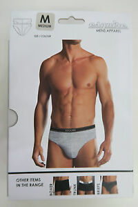 Esquire-Mens-2-Pack-Briefs-Underwear-size-Medium-Colour-Grey-Marle-Black