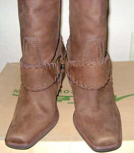 New-Steve-Madden-Womens-Harness-Brown-Distressed-Leather-High-Heel-Boots-7