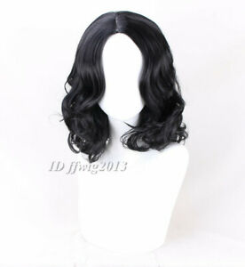 Fashion Short Black Middle Part Men's Wig Curly Hair Handsome + a wig cap