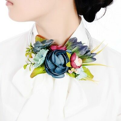 Women Fashion Bib Flower Crystal Pendant Statement Chain Chunky Choker Necklace