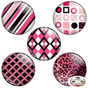 Pink-amp-Black-Color-1-25-034-Pinback-Button-BADGE-SET-Novelty-Pins-32-mm