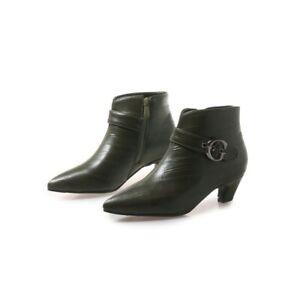 Women's Buckle Pointy Toe Kitten Heel Casual Court Ankle Boots 34-50 51 52 53 54