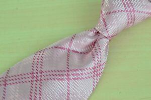 Robert-Talbott-Carmel-Pink-White-Plaid-Hand-Sewn-100-Silk-Tie