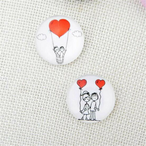 50PCS Lovers Couple Red Balloon Glass Cabs Flat Back Jewelry Fit Dome Cameo DIY