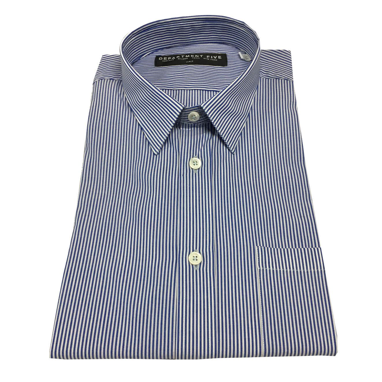 DEPARTMENT 5 Herrenhemd mit Tasche Streifen blau/weiß 100% Baumwolle schlank