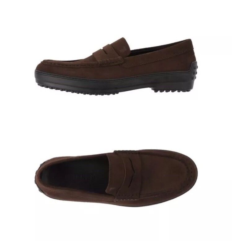 595 TOD'S Penny Loafers sz 10.5/11.5us -Authentic Italy Suede marroneScarpe