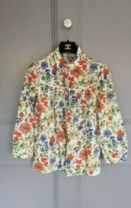 Zara Floral Designer Print Fresh Pretty Flowers  Cotton Summer Smock Blouse 8