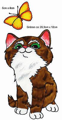 Fensterbild Window Color Bild Fenstersticker Katze mit Schmetterling 083