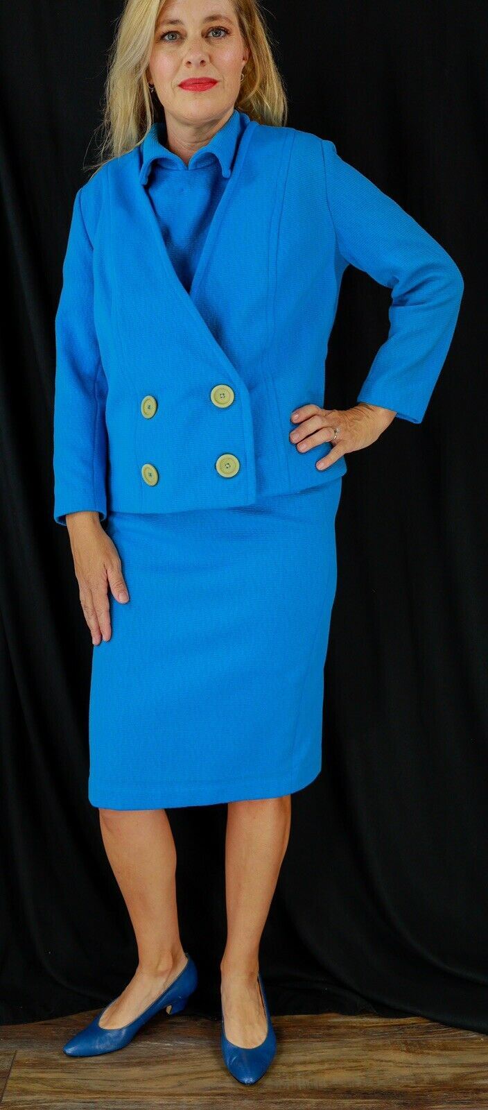 Nardis By Dallas Blue Womens Vintage Skirt Suit 6… - image 4