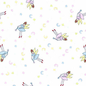 Fairy moon and stars pretty childrens nursery print per for Childrens cotton fabric