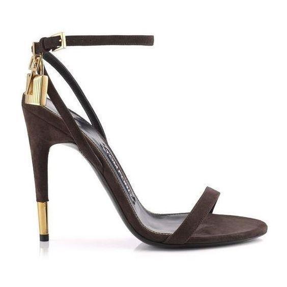 Auth NIB $990 TOM FORD Naked Strap Padlock Sandal Suede Brown Suede Sandal 6 6.5 7.5 8.5 9 10 1fba19