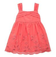 Rare Editions Coral Colored Eyelet Sundress And Bloomer Two Piece Set