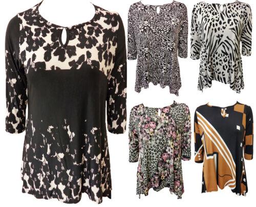 New Womens Plus Key Hole 3//4 Sleeve Hanky Hem Tunic Tops 12-26