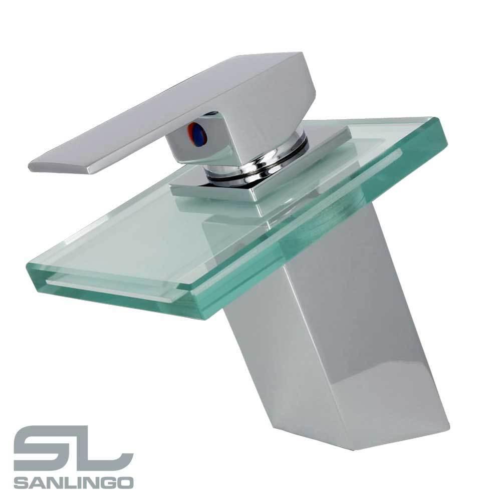 Baño Grifo de Lavabo Cascada Moderno Monomando Cromo Vidrio Sanlingo