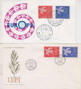 CEPT-Luxemburg-u-Griechenland-2-Europa-FDCs-1961-first-day-cover