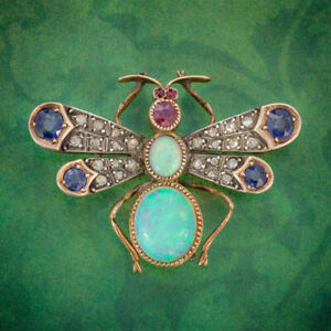 ANTIQUE-VICTORIAN-INSECT-BROOCH-OPAL-DIAMOND-RUBY-SAPPHIRE-18CT-GOLD-CIRCA-1880