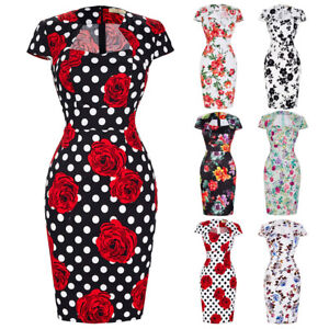 Vintage-Retro-1950s-1960s-Wiggle-Pencil-Housewife-Retro-Formal-Party-Swing-Dress