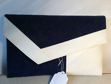 OVER SIZED CREAM & NAVY BLUE faux suede asymmerical clutch bag. Made in the UK