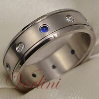 Titanium Ring Men's Wedding Band Blue Sapphire & Diamond Simulated Hot Size 6-13