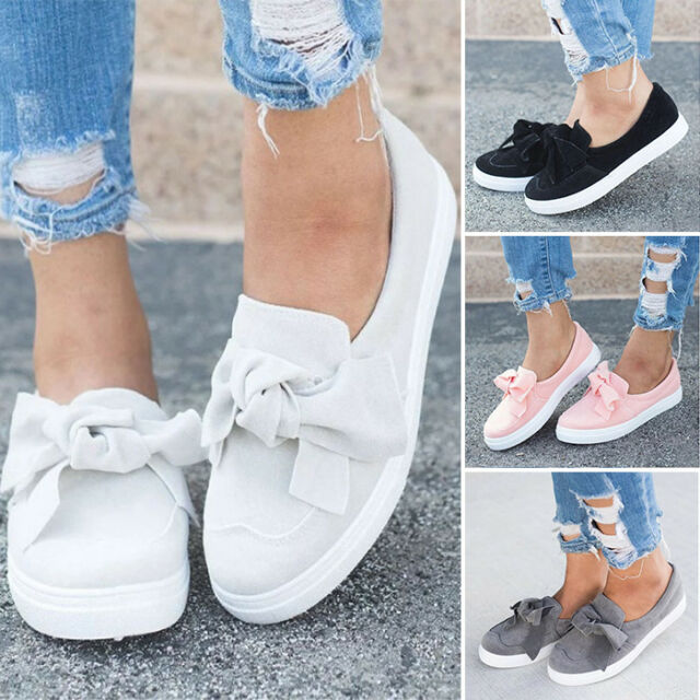 New Womens Flat Casual Flatform Sandals Loafers Bow Slip On Pumps Trainers Shoes
